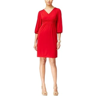 NY Collection Womens Petites Casual Dress Matte Jersey Ruched