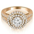 1.15 cttw. 14K Rose Gold Double Halo Round Cut Diamond Engagement Ring - Thumbnail 0