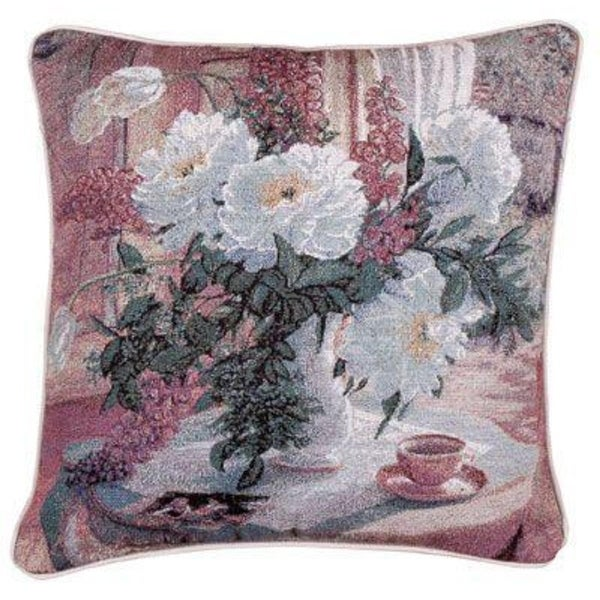 "17"" Watercolor Print ""Tea at Marguerites"" Decorative Tapestry Accent Throw Pillow"