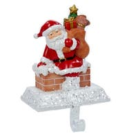 """6.5"""" Santa Claus with Gift Bag Christmas Stocking Holder - RED"""