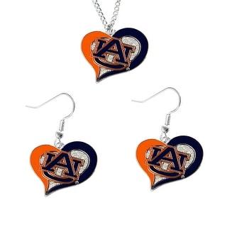 Auburn Tigers NCAA Swirl Heart Pendant Necklace And Earring Set Charm Gift