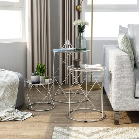 Furniture of America Erto Transitional Chrome Metal Nesting Table