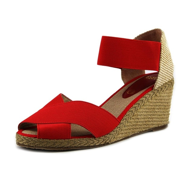 Andre Assous Emmie Women Open Toe Synthetic Red Wedge Sandal