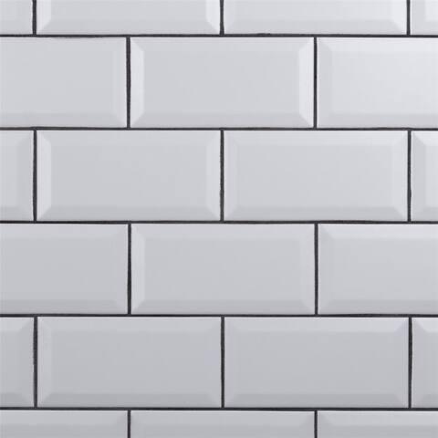 SomerTile 3 x 6-Inch Crown Heights Beveled Matte White Ceramic Wall Tile (44 Tiles/6.03 sqft.)