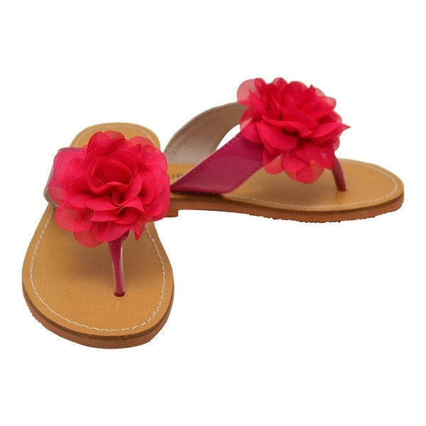 eee4ac15b Shop L Amour Little Girls Fuchsia Organza Flower Thong Sandals - Free  Shipping Today - Overstock - 23077308