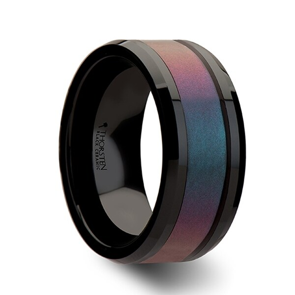 Barracuda Black Ceramic Ring With Bevels And Bluepurple Color Changing Inlay