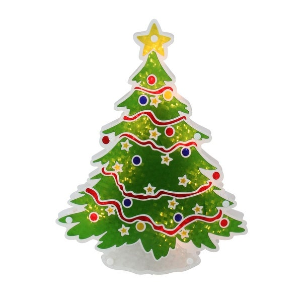 "12.5"" Glazed Lighted Holographic Christmas Tree Window Silhouette - RED"