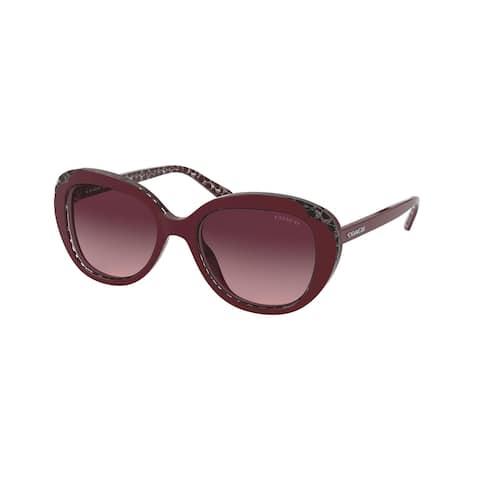Coach HC8289 55848H 53 Burgundy Glitter Signature C Woman Round Sunglasses