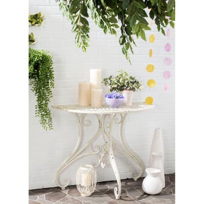 """SAFAVIEH Outdoor Living Rustic Annalise Iron Accent Table - 35.5"""" W x 18.5"""" L x 29.3"""" H"""