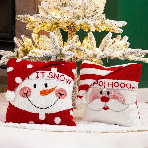 """Glitzhome 14""""L Hooked 3D Christmas Pillow"""