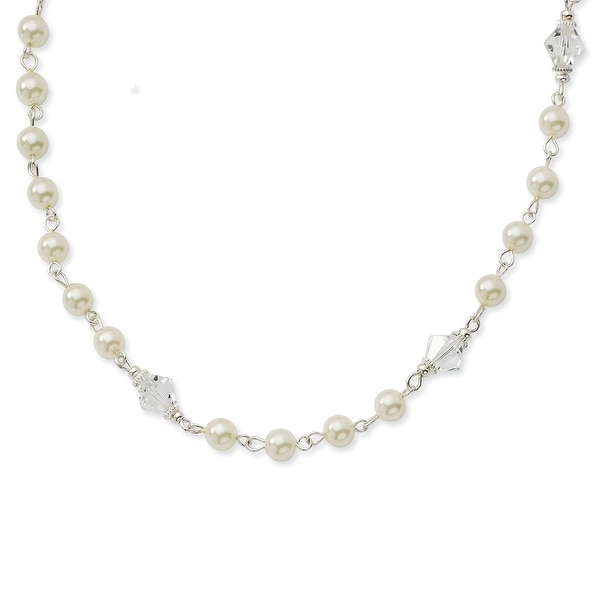 Silvertone Cultured Glass Pearl/Crystal Strand Necklace - 15in