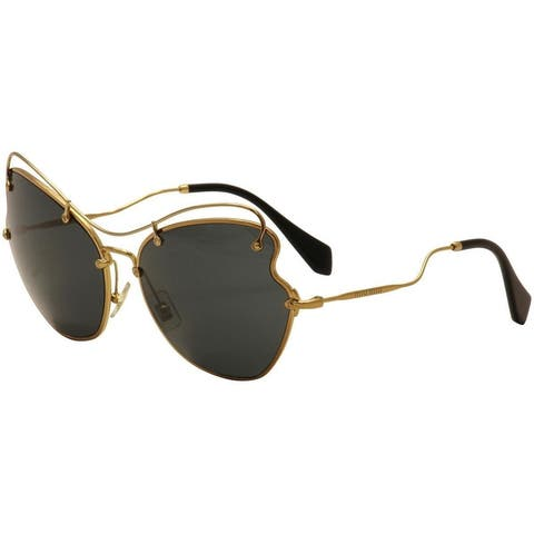 Miu Miu Prada Women's Classic Black/Gold Luxury Sunglasses SMU56R