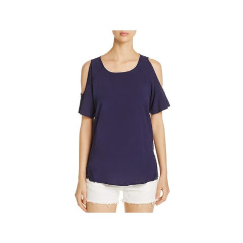 Design History Womens Casual Top Woven Lace-Trim