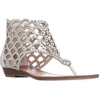 ZIGI Mela Caged Gladiator Flat Sandals, Silver