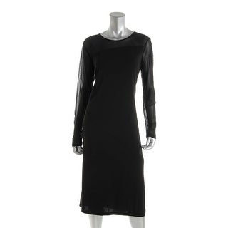 DKNY Womens Sheer Panel Long Sleeves Wear to Work Dress - L