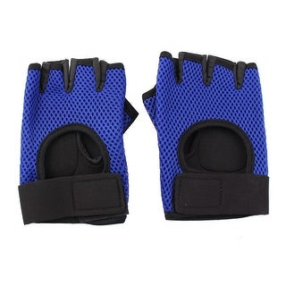 Unique BargainsSports Exercise Cycling Mesh Nonslip Adjustable Band Gloves Palm Support Pair