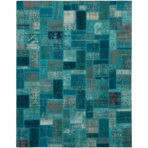 Hand-knotted Color Patchwork Turquoise Wool Rug - 7'1 x 9'10