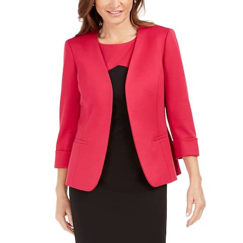 Kasper Women's Collarless 3/4-Sleeve Blazer Pink Size 18