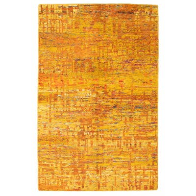 Hand-knotted Sari Silk Gold Silk Rug