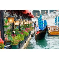 """LED Lighted Floral Shop with Gondola Ride Canvas Wall Art 11.75"""" x 15.75"""""""