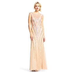 bf6dc915f3d11 Adrianna Papell Ombre Sequin Chevron Dress with Sheer Neckline, Champagne,  16M - Champagne