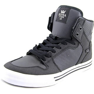 Supra Vaider Men  Round Toe Leather Black Skate Shoe