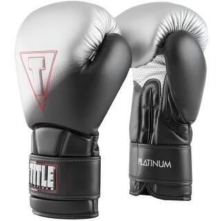 Title Boxing Platinum Proclaim Hook and Loop Training Gloves - Black/Silver (Option: 12 Oz.)|https://ak1.ostkcdn.com/images/products/is/images/direct/9dd8525da9c00480f26428f495b71ebf7f9f17d4/Title-Boxing-Platinum-Proclaim-Hook-and-Loop-Training-Gloves---Black-Silver.jpg?impolicy=medium