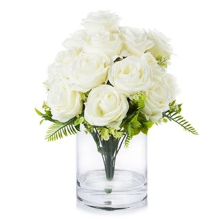 Link to Enova Home 18 Heads Silk Rose Flower in Clear Glass Vase With Faux Water For Home Decoration Similar Items in Decorative Accessories