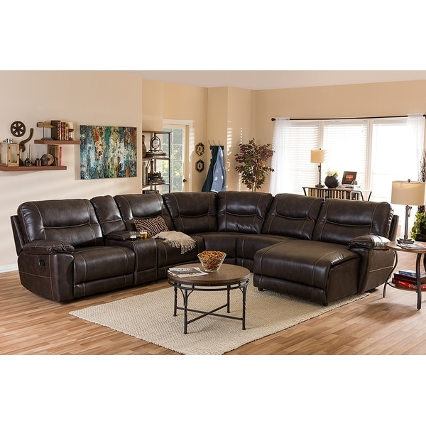 Mistral 6pcs Dark Brown Bonded Leather 6pcs Sectional Sofa W/Recliners