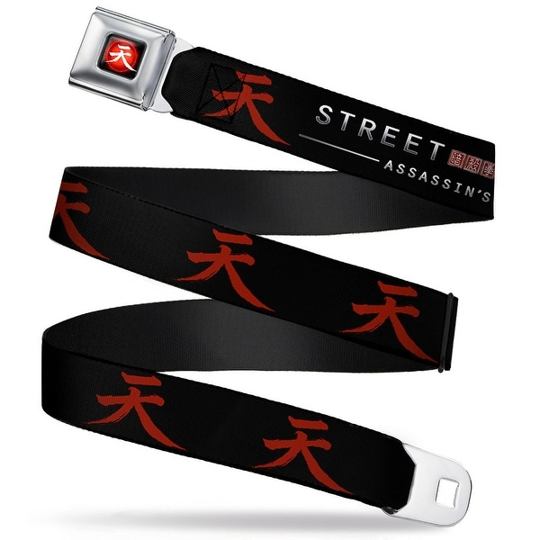 Akuma Symbol Full Color Black Red White Street Fighter Assassin's Fist Seatbelt Belt