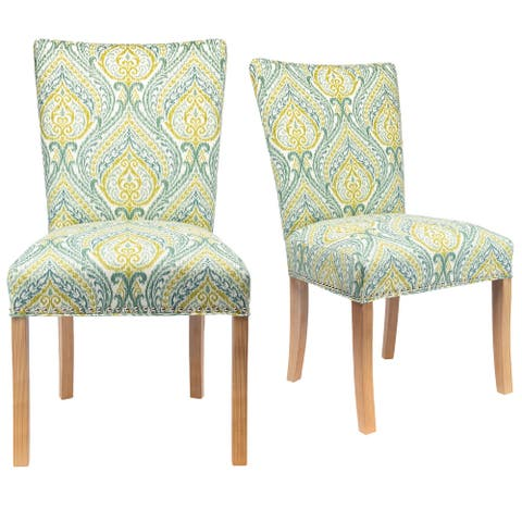 Modern Upholstered Yellow/ Blue Dining Room Chair