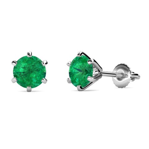TriJewels Gemstone Six Prong Martini Solitaire Stud Earrings Gold