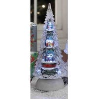 "Set of 2 Pine Tree with Nativity Scene Musical Tabletop Christmas Decor with LED 8"" - CLEAR"