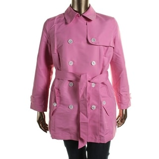 Lauren Ralph Lauren Womens Plus Water Resistant Double Breasted Trench Coat - 2X