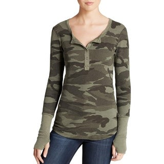 Splendid Womens Henley Top Thermal Camouflage