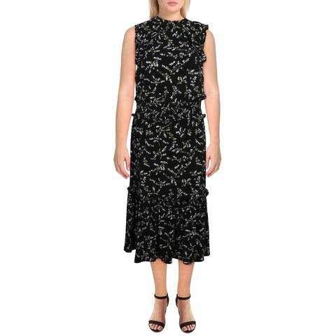 MICHAEL Michael Kors Womens Casual Dress Floral Ruffled - Smoky Olive