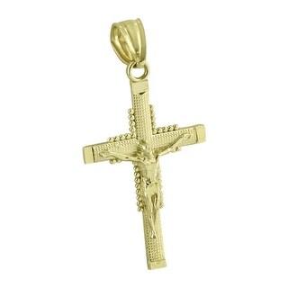 Jesus Christ Crucifix Pendant Real 10K Yellow Gold High End Hip Hop Rapper Wear