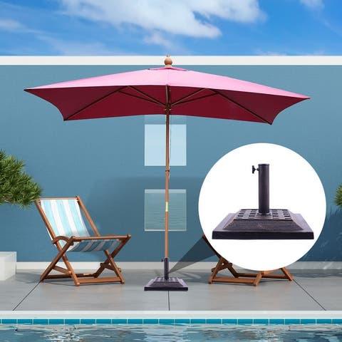 "Outsunny 17.5"" Square Cast Stone Umbrella Holder Base with Beautiful Decorative Pattern & Easy Setup, Bronze"