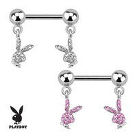 Playboy Bunny with Paved Gems Dangle 316L Surgical Steel Nipple Bar (Sold Individually)