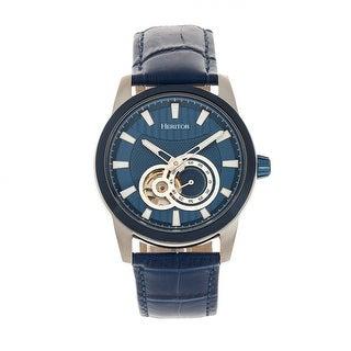 Heritor Automatic Davidson Semi-Skeleton Leather-Band Watch - Blue