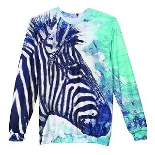 Women's Zebra Watercolor Sweatshirt - Long Sleeve - Front/Back Print