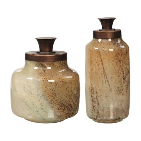 "Uttermost 17519 Elia 12"" Tall Glass Decorative Bottles - Set of (2) - Brown / Tan"