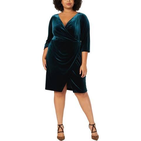 Betsey Johnson Womens Plus Wrap Dress Velvet Cocktail - Pine Green