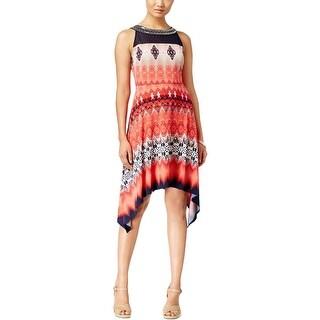 Sandra Darren Womens Casual Dress Matte Jersey Printed