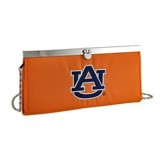 Embroidered Auburn Tigers Fabric Clutch Wallet w/Chain Strap - Orange