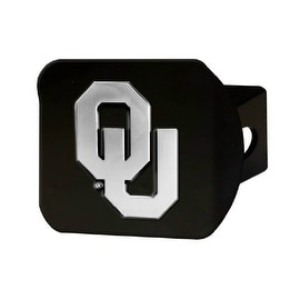 "Oklahoma Sooners NCAA 2"" Black Chrome Metal Tow Hitch Receiver Cover 3D Design"