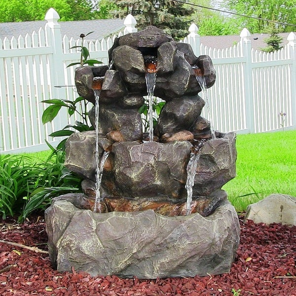 Sunnydaze Layered Rock Waterfall Outdoor Fountain with LED Lights - 32-Inch
