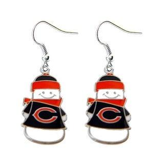 Chicago Bears NFL SNowman Holiday Dangle Logo Earring Set Charm Gift