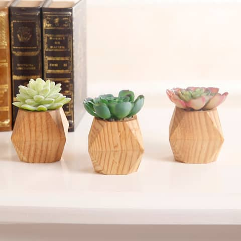 SET OF 3 Faux Succulent in WOOD Pot - ONE-SIZE