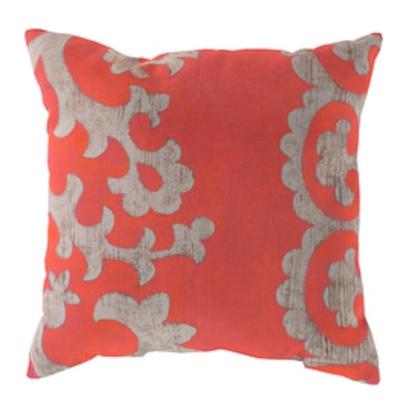 "20"" Coral Pink and Cream Rustique Square Outdoor Pillow Shell"
